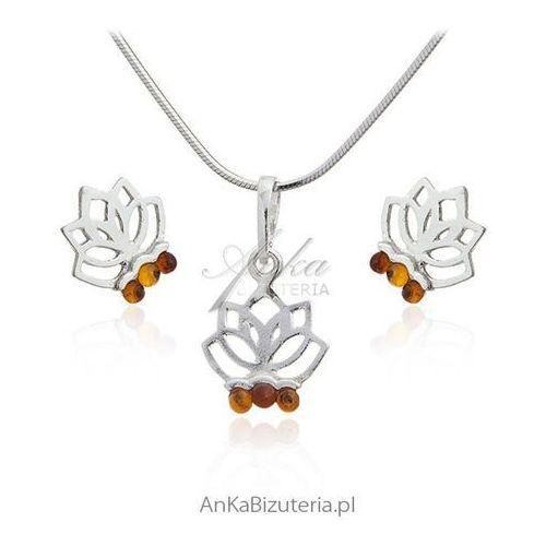 Komplet biżuteria srebrna z bursztynem - Kwiat lotosu, kolor pomarańczowy