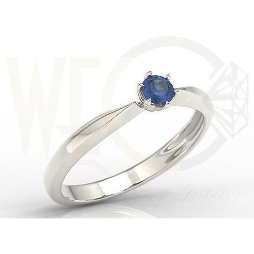 Węc  twój jubiler Pierścionek zaręczynowy z białego złota z szafirem model ap 3620b