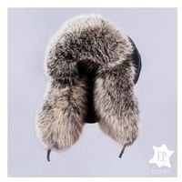Naturalna czapka USZATKA / PILOTKA Z z JENOTEM [N51S]