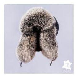 F.p. leather Naturalna czapka uszatka / pilotka z z jenotem [n51s]