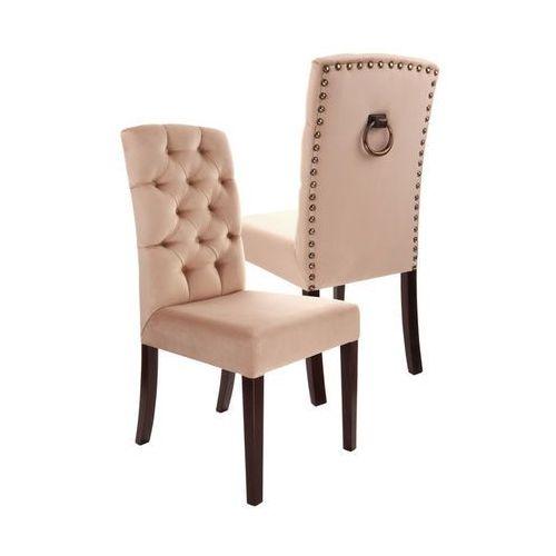 Krzesło tapicerowane w stylu Chesterfield ROYAL różne kolory nogi drewniane