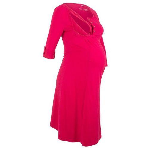Sukienka shirtowa ciążowa i do karmienia bonprix czerwień granatu, kolor czerwony