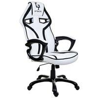 Fotel gamingowy gp racer biało-czarny marki Giosedio