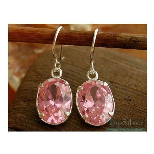 BLANCA - srebrne kolczyki z różowym kryształem, kolor różowy