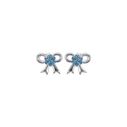 Kolczyki Kokardki z błękitnymi cyrkoniami, 692F-68989