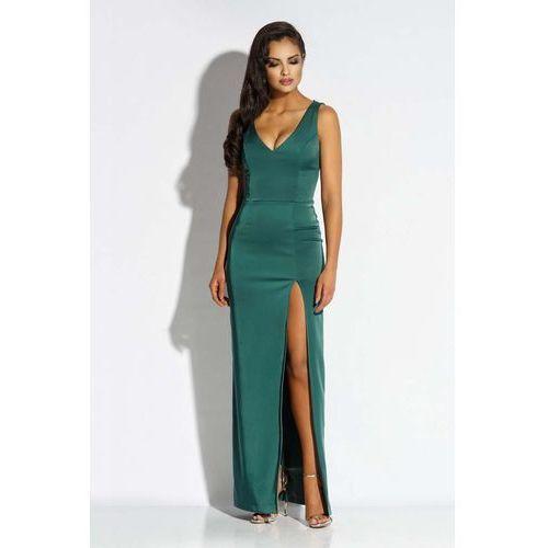 Zielona Sukienka Wieczorowa Maxi z Długim Rozcięciem