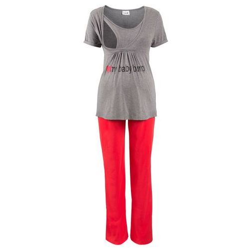 5e158cdf9b3674 Zobacz w sklepie Piżama dla ciężarnych i karmiących (2 części) szary melanż  - czerwony, Bonprix,