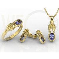 Węc - twój jubiler Zestaw: pierścionek, kolczyki i wisiorek z żółtego złota z tanzanitami bp-69z-zestaw - żółte \ tanzanit