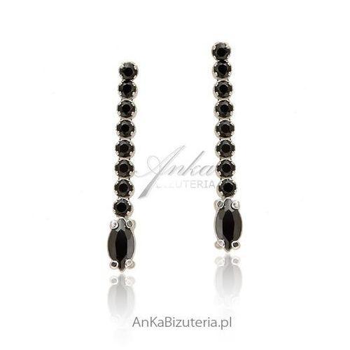Anka biżuteria Kolczyki srebrne z czarnymi cyrkoniami