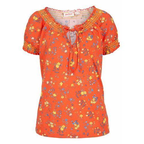 T-shirt z nadrukiem bonprix pomarańczowy z nadrukiem