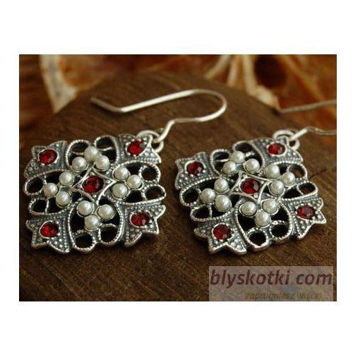 CESARTA - srebrne kolczyki z rubinem i perłami