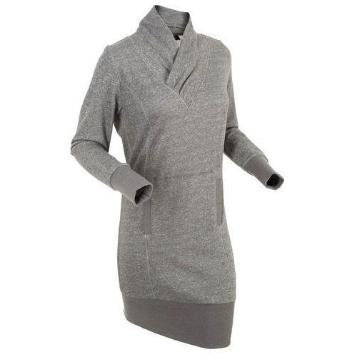 Bonprix Sukienka dresowa, długi rękaw szary melanż