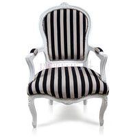 Design by impresje24 Dekoracyjny fotel luisa, podłokietniki, biała, drewniana rama, obicie tkanina w czarno- jasnoszare pasy.