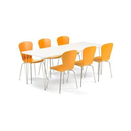 Zestaw mebli do stołówki ZADIE + MILLA, stół + 6 krzeseł, pomarańczowy