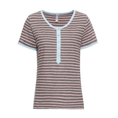 Shirt, rękawy 3/4 bonprix beżowy, kolor szary
