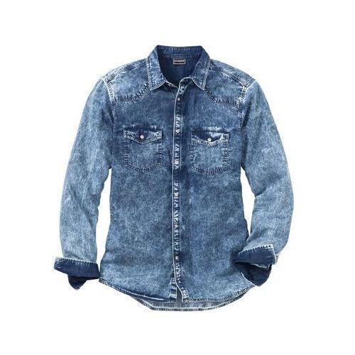 """ba7fb2756e41ab Zobacz ofertę Koszula dżinsowa z efektem wytarcia Slim Fit bonprix  niebieski """"moon"""""""