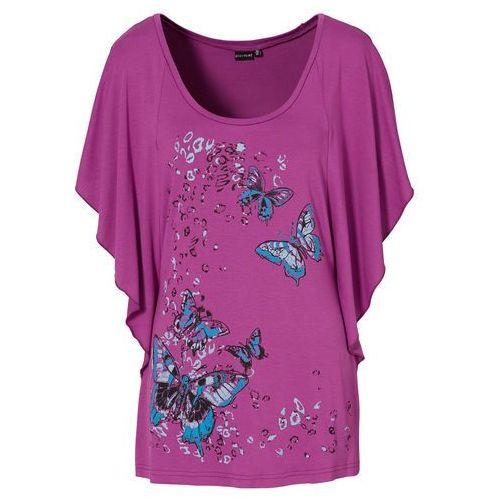 Shirt z rękawami kimonowymi bonprix piwonia z nadrukiem, kolor fioletowy