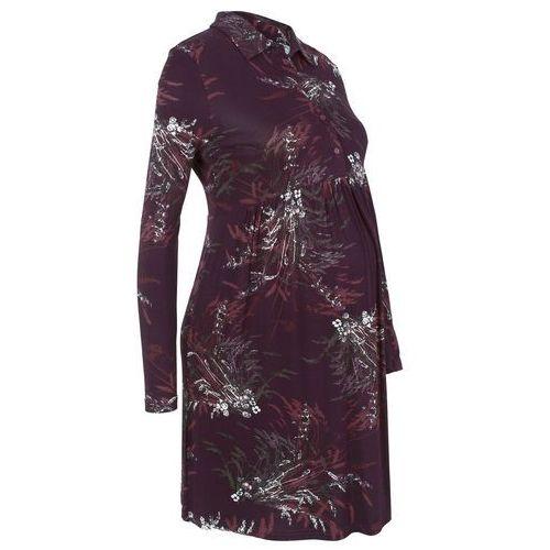 Sukienka shirtowa ciążowa i do karmienia bonprix bordowy z nadrukiem, w 4 rozmiarach