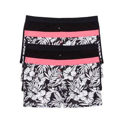 Bokserki damskie (4 pary) czarno-biało-różowy neonowy marki Bonprix