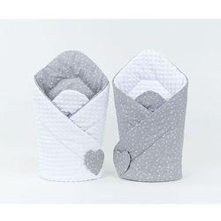 MAMO-TATO Rożek niemowlęcy dwustronny minky Mini gwiazdki białe na szarym / biały