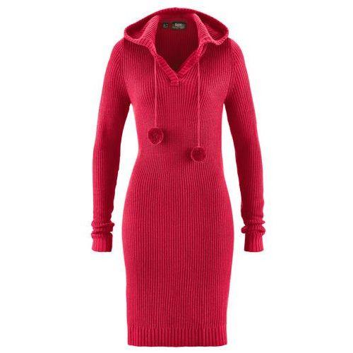 Bonprix Sukienka dzianinowa czerwony