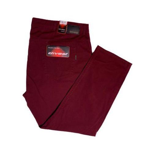 Divest spodnie długie materiałowe bordowe model 547 106/34 bordo bawełna / lycra