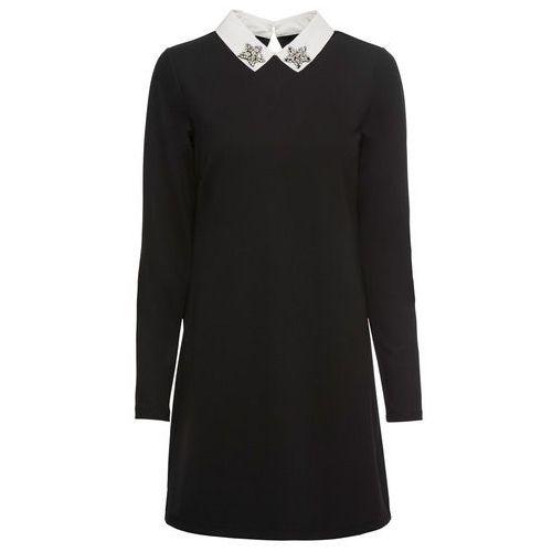Sukienka kopertowa bonprix czarno-biel wełny w paski, w 2 rozmiarach