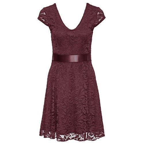 Sukienka z dżerseju z koronką czerwony klonowy, Bonprix, 32-50