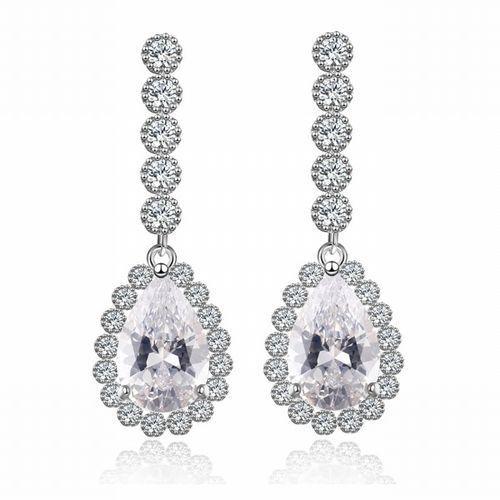 Kol 599/544 kolczyki ślubne, cyrkonie długie piękne marki Mak-biżuteria
