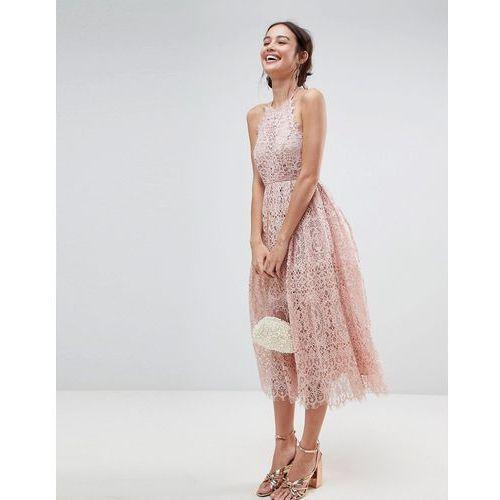 lace pinny scallop edge midi prom dress - pink marki Asos
