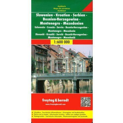 Słowenia Chorwacja Serbia Bośnia i Hercegowina Czarnogóra Kosowo Macedonia. Mapa 1:600 000, Freytag&berndt