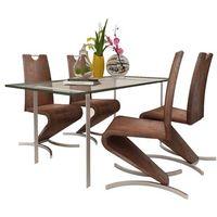 vidaXL Zestaw 4 krzeseł ze sztucznej skóry z podstawą w kształcie litery H (8718475902638)