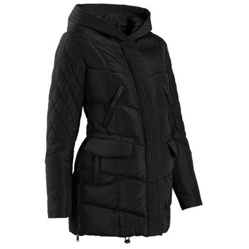 Płaszcz ciążowy pikowany z regulacją obwodu bonprix czarny, płaszcz