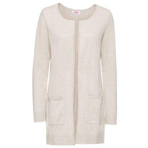 f43a83567bac09 Długi sweter bez zapięcia beżowy melanż (bonprix) - sklep ...