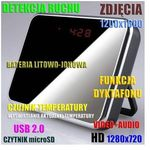 Szpiegowski zegar biurkowy, nagrywający obraz hd i dźwięk + detekcja ruchu + rejestrator dźwięku.. marki Spy
