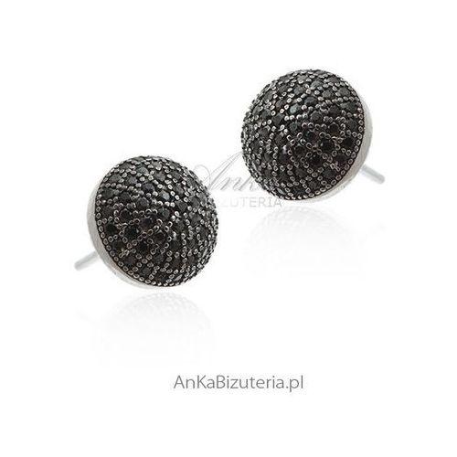 Kolczyki srebrne. Kolczyki srebrne z czarną cyrkonią, kolor czarny