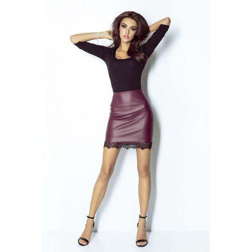 cc81fd10464e63 Zobacz w sklepie Mini Spódnica z Eco-skóry z Koronkową Wypustką - Bordowa,  kolor czerwony