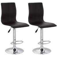 krzesła barowe z brązowej eko skóry, wysokim oparciem x2 marki Vidaxl