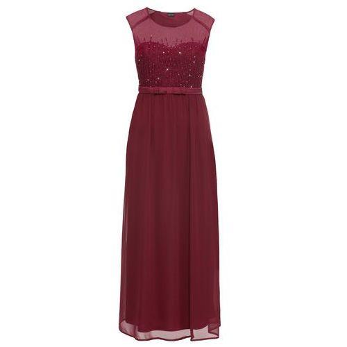 Sukienka wieczorowa z cekinami bonprix czerwony klonowy