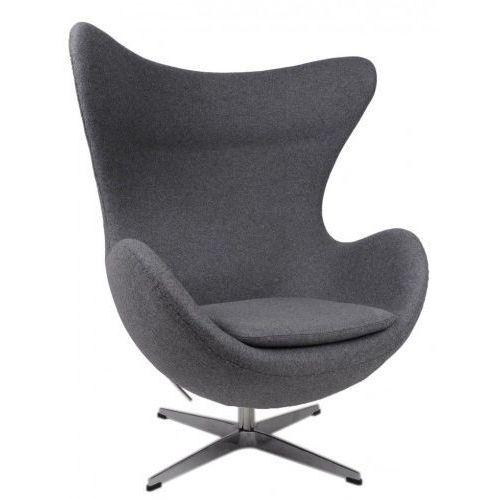 Żółty Fotel JAJO Wełna Naturalna Inspirowany Projektem Egg Chair   Sklep z meblami DesignTown, kolor szary