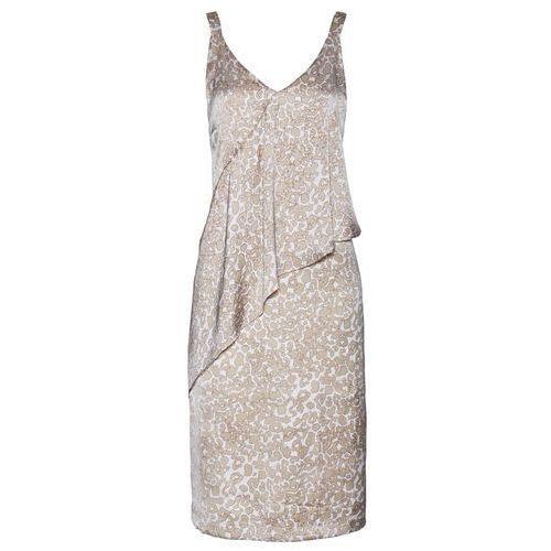 Sukienka satynowa bonprix biel wełny - beżowy z nadrukiem