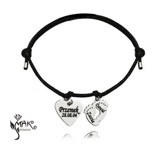 Br826 bransoletka z grawerem na sznureczku stópki serce marki Mak-biżuteria