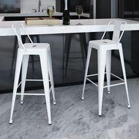 wysokie krzesła barowe z oparciem, białe x2 marki Vidaxl