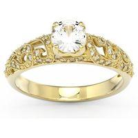 Pełen blasku Pierścionek zaręczynowy z żółtego złota z zirconem i diamentami BP-50Z - Żółte \ Zirkon Sparklit