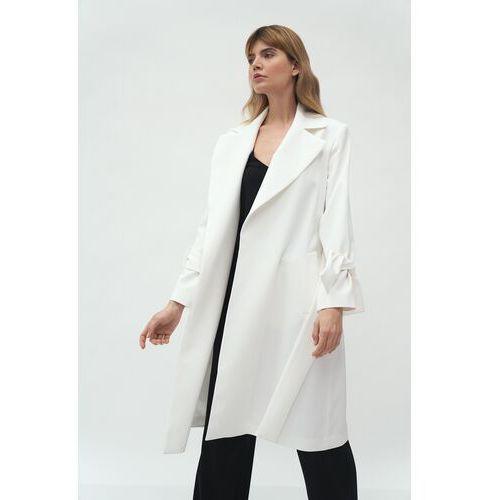 Niezapinany wiosenny płaszcz - ecru marki Nife