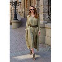 Długa koszulowa sukienka - oliwkowa