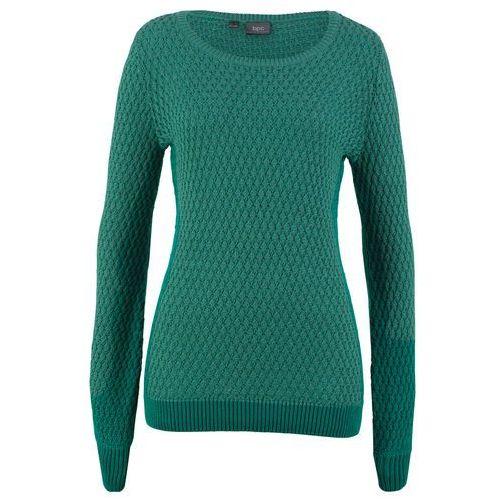 1491447ef89e43 Zobacz w sklepie Sweter w strukturalny wzór bonprix dymny szmaragdowy, w 2  rozmiarach
