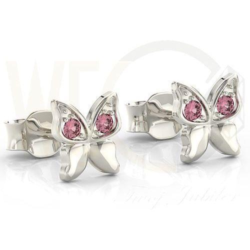 Kolczyki motylki z białego złota z różowymi cyrkoniami bpk-88b-c - białe Węc - twój jubiler