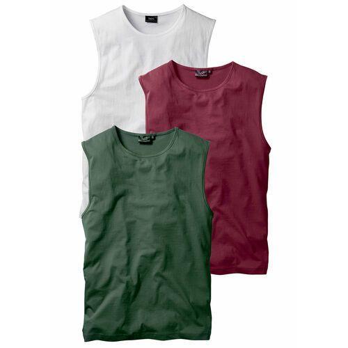 Shirt bez rękawów (3 szt.) bonprix bordowy + ciemnozielony + biały, kolor czerwony