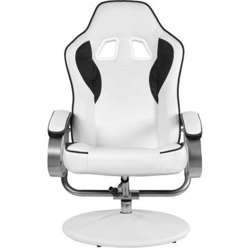 Genialny ▷ Biało czarny fotel wypoczynkowy obrotowy dla gracza przed tv CG55